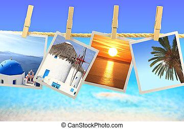 希腊, 绳索, 照片, 海, 悬挂, 前面