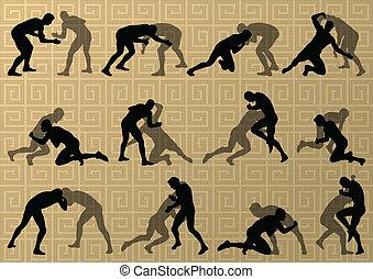 希臘語, 羅馬, 摔跤, 活躍, 人, 運動, 黑色半面畫像, 矢量, 摘要, 背景, 插圖