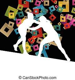 希臘語, 羅馬, 摔跤, 活躍, 年輕婦女, 運動, 黑色半面畫像, 矢量, 摘要, 背景, 插圖
