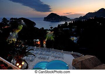 希臘, 海灣, paleokastritsa, 夜晚, 看法, 海灘, corfu