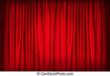 帘子, 天鵝絨, 背景, 紅色