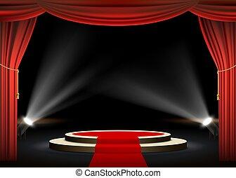 帘子, 輪, 紅的地毯, 指揮臺