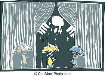 帘子, 雨