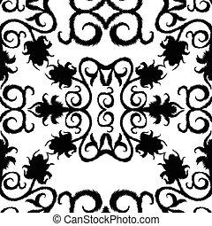 带子, 模式, seamless, 背景。, 黑色, 植物群, 白色