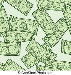 帳單, 美元, seamless, 背景
