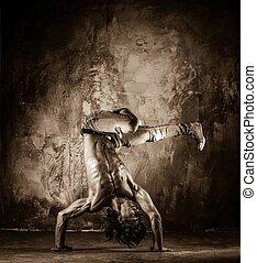帶上某种調子, 圖片, 年輕, 赤裸, 人, 雜技, 軀幹, 運動