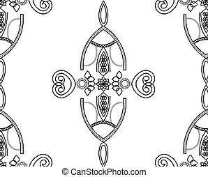 帶子, 圖案, seamless, 黑色, 幾何學, 白色