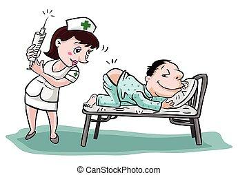 帶有患者的護士