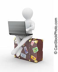 帶有筆記本電腦的人, 上, the, 行李