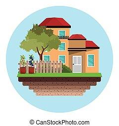 帶柵欄的房子, 樹, 花園