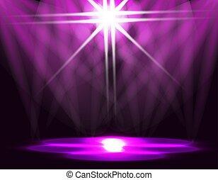 常設歩路, 紫色, lights., 氷, バックグラウンド。, 照明, イラスト, abstraction., リンク, ステージ
