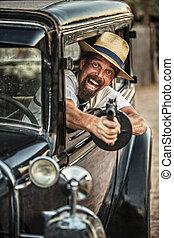 帽子でやれやれ, 射撃, から, 自動車