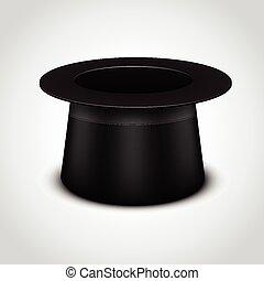 帽子, シリンダー, 黒, 白い背景