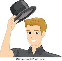 帽子, ジェスチャー, 人