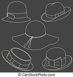 帽子, セット, 白い背景