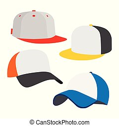 帽子, セット, 野球, アイコン
