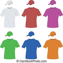 帽子, セット, 野球, ワイシャツ