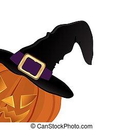 帽子, ハロウィーン, 魔女, カボチャ