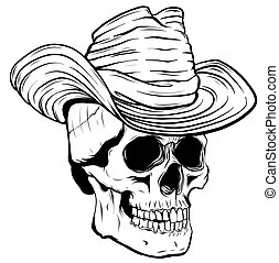 帽子, ベクトル, イラスト, カウボーイ, 頭骨