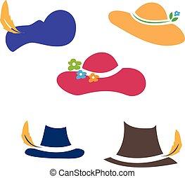 帽子, ベクトル, イラスト, セット