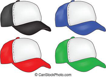 帽子, ベクトル, セット, トラック運転手