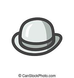 帽子, ボーリング競技者, イラスト, 漫画, 型, 帽子, 紳士, ベクトル