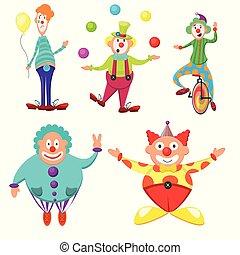 帽子, ムード, 現代, 多彩, 休日, セット, fun., 別, イメージ, 厚く, うれしい, 平ら, よい, 面白い, 自転車, サーカス, emotions., 情報, ボール, かわいい, ベクトル, ピエロ, clowns.