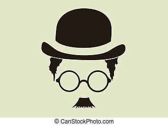 帽子, 口ひげ, ガラス