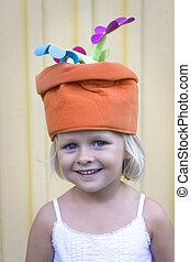 帽子, 女孩, 傻