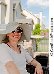 帽子, 女, サングラス, 中庭, モデル