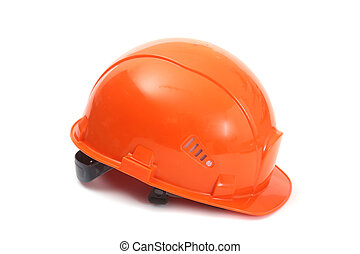帽子, 懸命に, 隔離された, バックグラウンド。, 安全, オレンジ, 白, helmet.