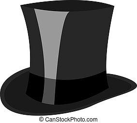 帽子, 插圖, 白色, 黑色, 矢量, 背景。