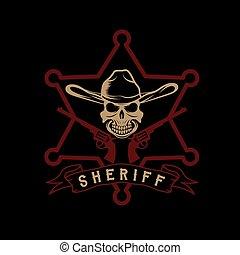 帽子, 星, 頭骨, 保安官, 銃