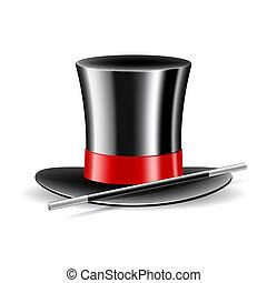 帽子, 白, マジック, 背景, 細い棒