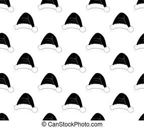 帽子, 白, 黒い背景, santa