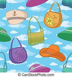 帽子, 背景, seamless, ハンドバッグ