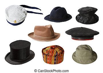 帽子, 集合, 被隔离, 背景, 白色
