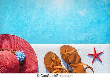 帽子, 靴, プール