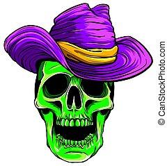 帽子, 頭骨, ベクトル, カウボーイ, イラスト