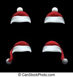 帽子, 黒, santa, 背景