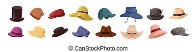 帽子, headwear, 帽子, ファッション, style., 束, -, 隔離された, accessories., バックグラウンド。, 様々, 白, 平ら, カラフルである, 男性, イラスト, コレクション, kepi, 漫画, タイプ, 女性, s, ベクトル, 流行
