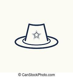 帽子, icon., 星, それ, 保安官