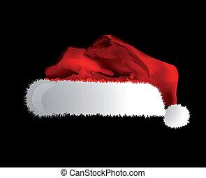 帽子, santa, 上に, claus, 隔離された, 黒い背景