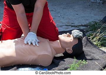 幫助,  cardiopulmonary, 首先, 復活,  (cpr)
