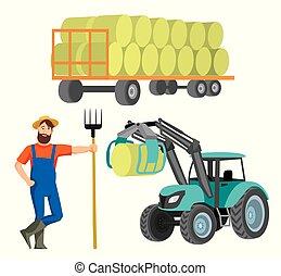 干し草, 収穫, 農夫, トラクター荷役係