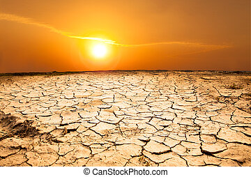 干ばつ, 土地, そして, 暑い天気