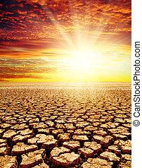 干ばつ, 土地, 日没, 赤, 下に