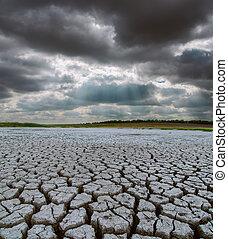 干ばつ, 土地, 空, 劇的, 下に