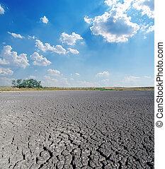 干ばつ, 土地, 空, 曇り, 下に
