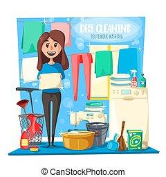 干燥, 家庭, 工具, 打扫, 家庭主妇